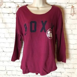 Roxy 3/4 sleeve burgundy top with slit details